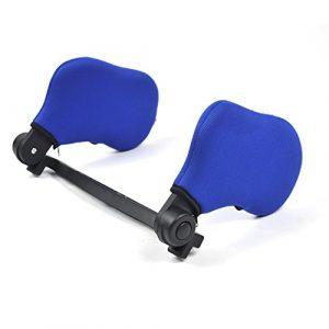 Almohada para el cuello del coche reposacabezas soporte de nylon elástico alto en ambos lados retráctil cómodo para el automóvil asiento azul